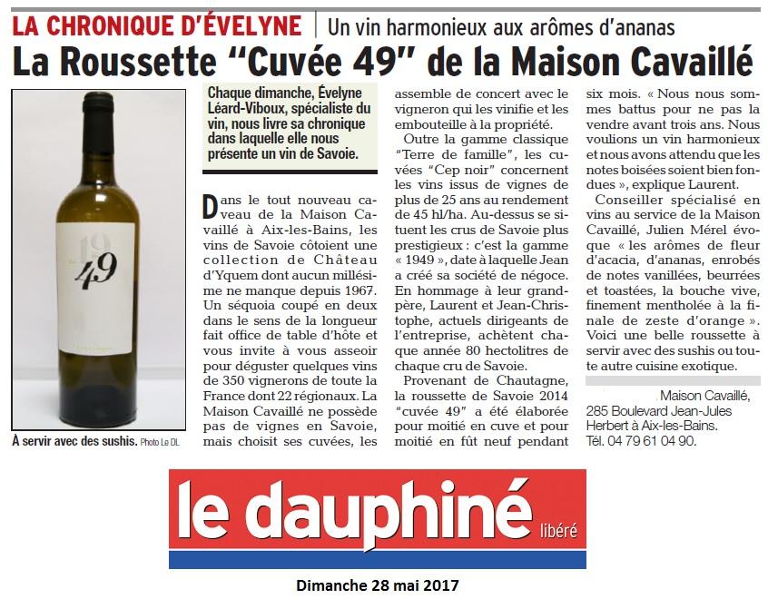 Le Dauphiné chronique d'Evelyne mai 17